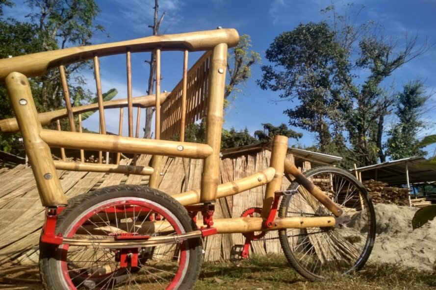 close-up shot of bamboo bicycle with large seat