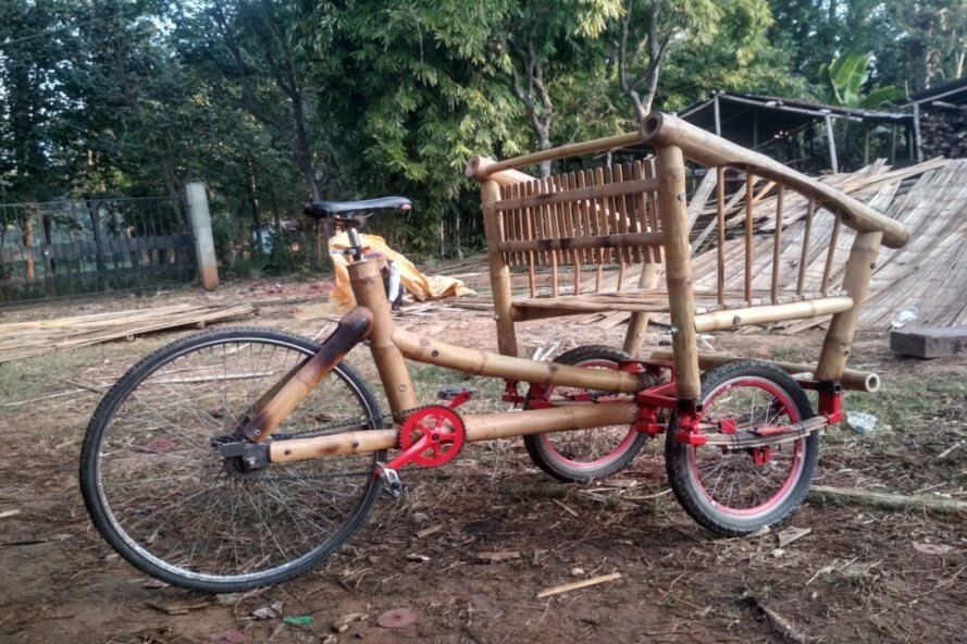 bicycle made out of bamboo