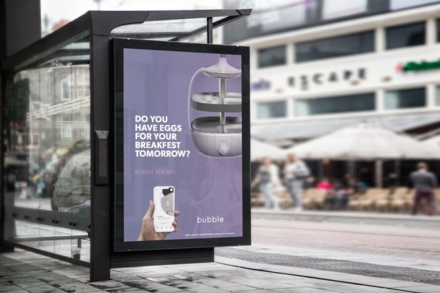 bus stop ad for bubble food tracker