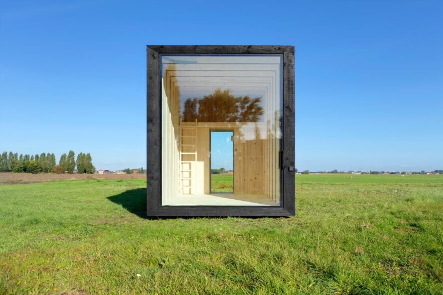 black cabin with glass doors