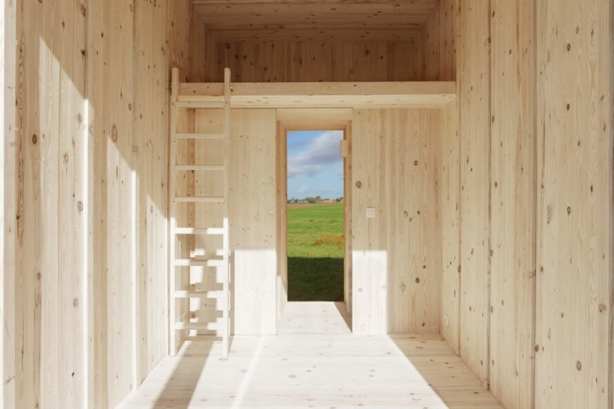 light wood tiny cabin interior with ladder leading to a loft