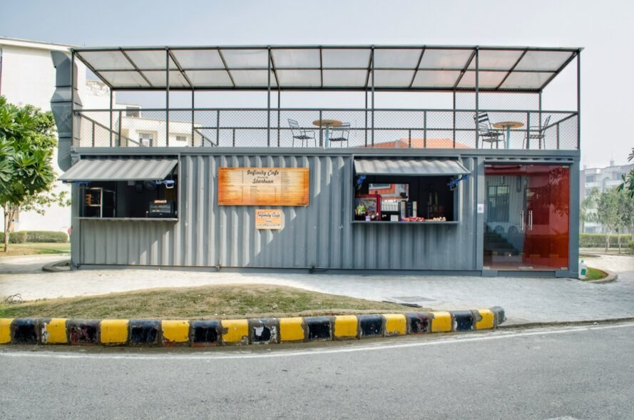 gray cafe made from a shipping container