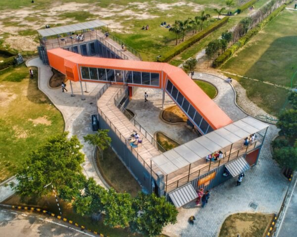 aerial view of orange and gray shipping container building