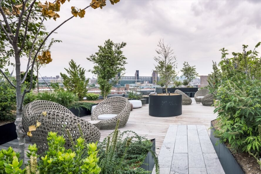 rooftop garden lounging area with chairs