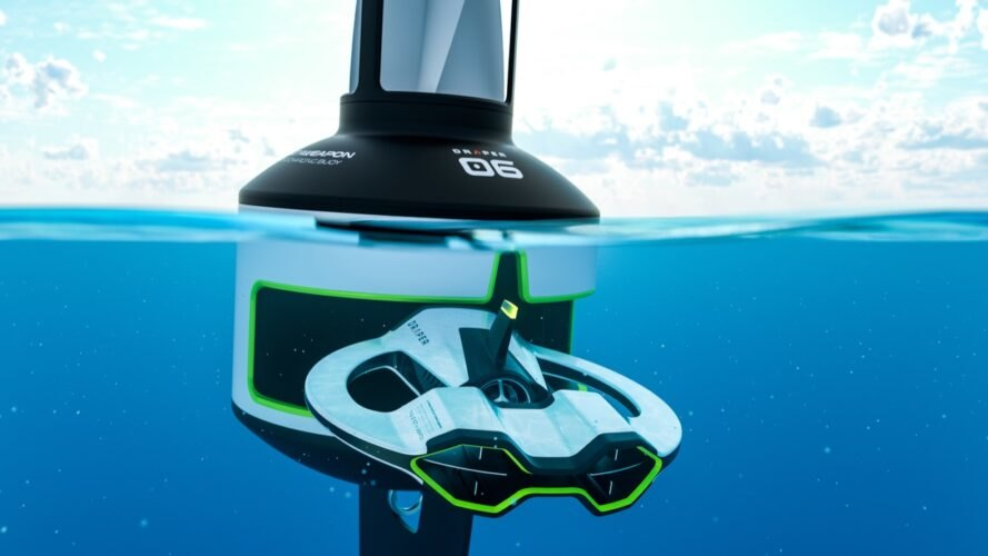 a small white, black and green robot going up to a water-bound docking station underwater