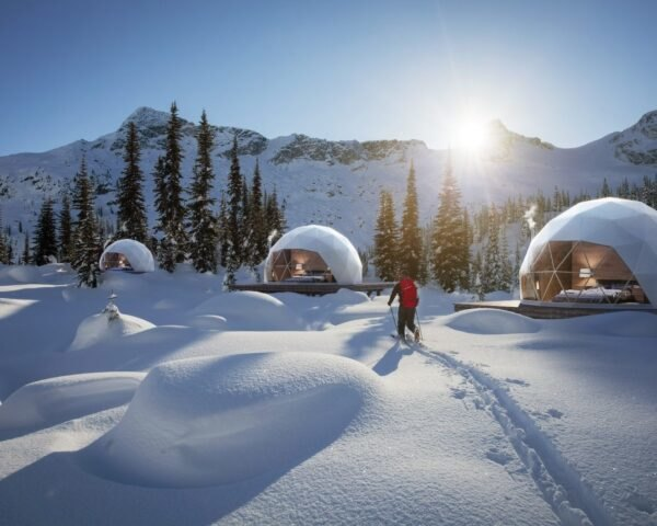 series of domes in snowy landscape