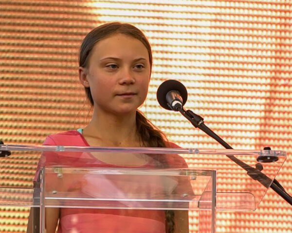 Swedish climate activist Greta Thunberg addresses the crowd of marchers participating in the Global Climate Strike