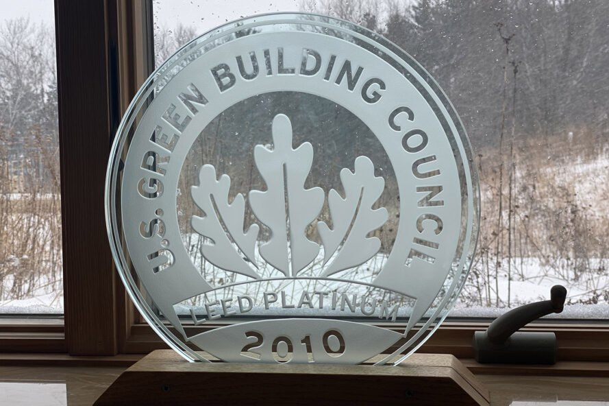 close up of a LEED Platinum award from 2010 from the U.S. Green Building Council