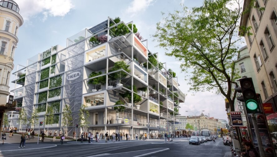 rendering of trees growing on each level of a large IKEA store building