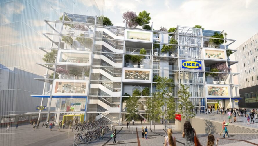 rendering of many stacked bike racks in front of a huge white IKEA store building