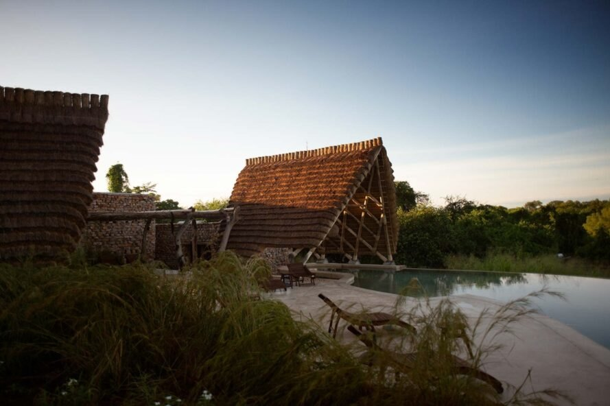 thatched roof structure on a river