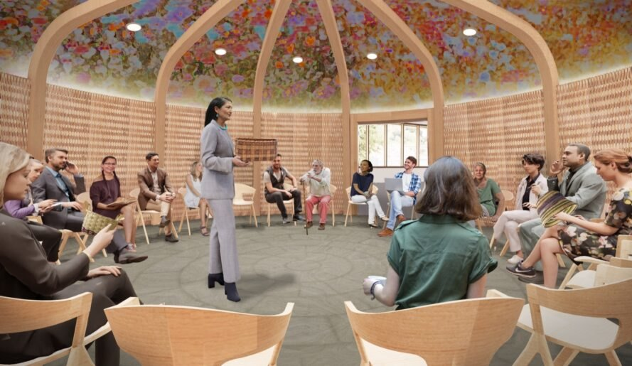 rendering of people sitting in a circular room with wood walls and a patterned ceiling