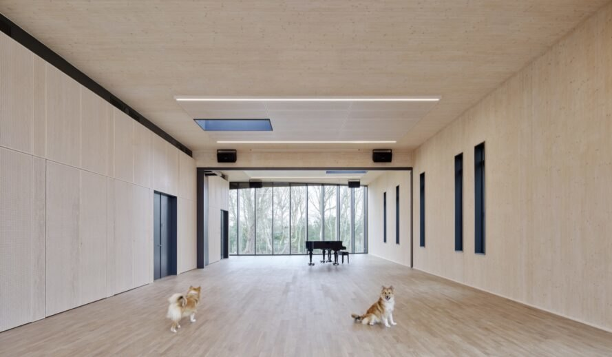 two dogs inside a large wood room with a piano