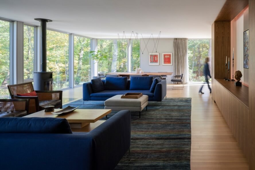 large living space with blue sofa