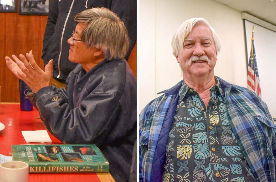 On the left, David Huie sitting at a desk speaking to a group. On the right. John Pitcairn smiling at camera