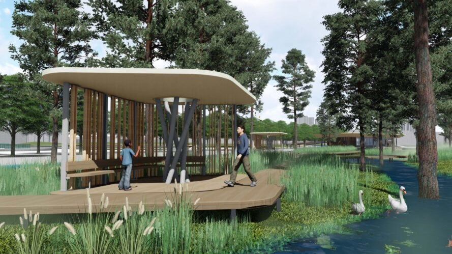 rendering of benches on a pavilion near a river