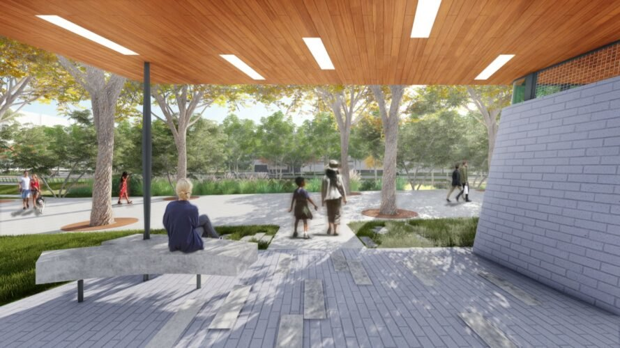 rendering of covered seating area in a park
