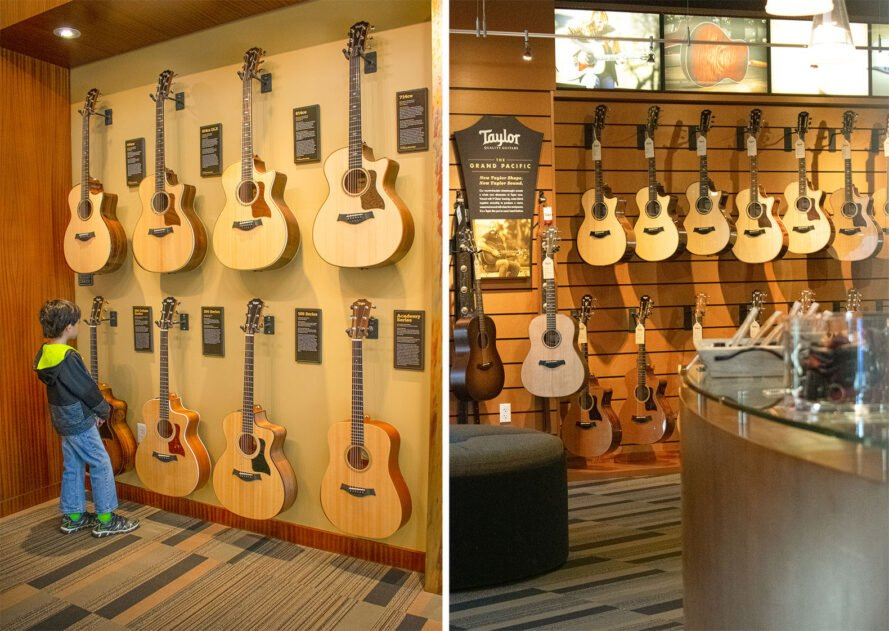 rows of guitars displays in a store