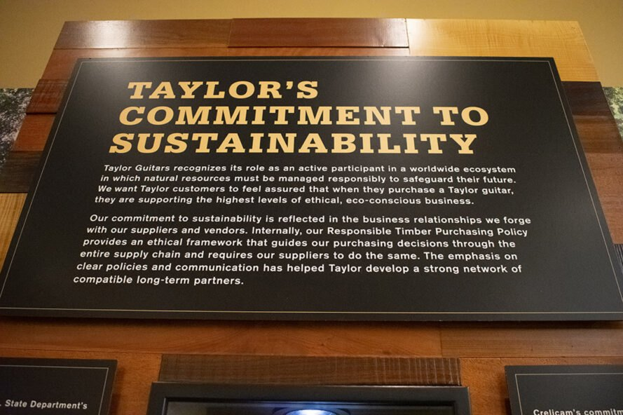 "a picture of ""Taylor's Commitment to Sustainability"" sign"