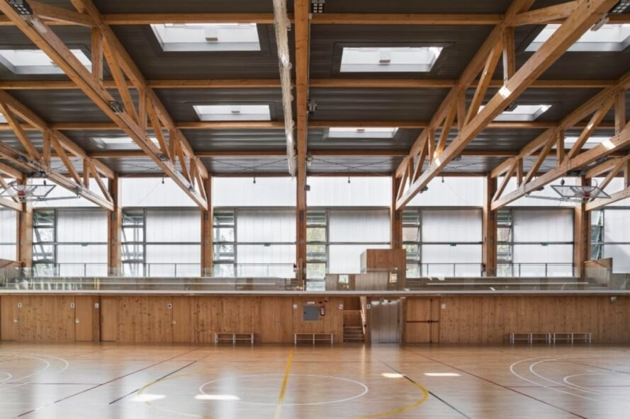 large indoor wood basketball court
