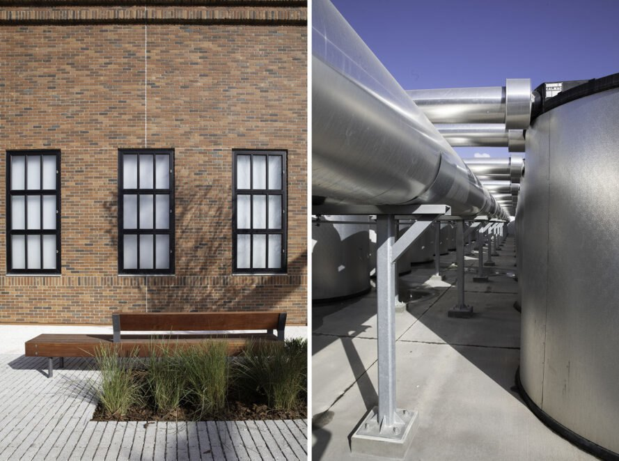 two images. to the left, a brick building with rectasngular windows and plants growing beneath; to the right, metal machinery