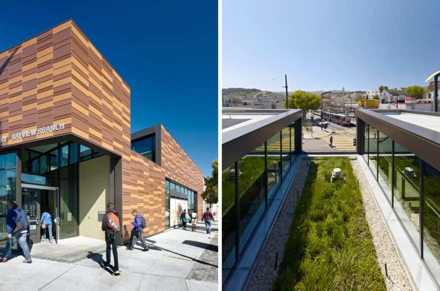 On the left, people walking into a wood library. On the right, green roof on top of a library building.