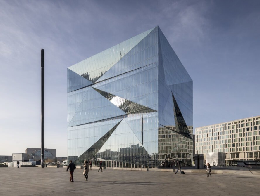 energy-efficient cube building with glazed exterior