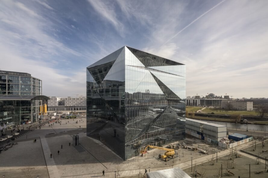 smart office building with reflective glass exterior