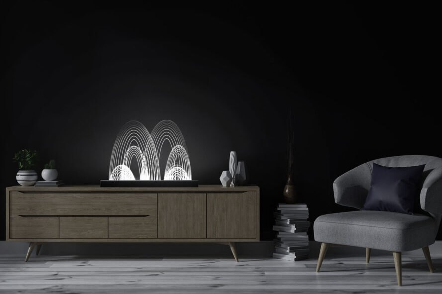 curved white LED light lamp on a wood entertainment center