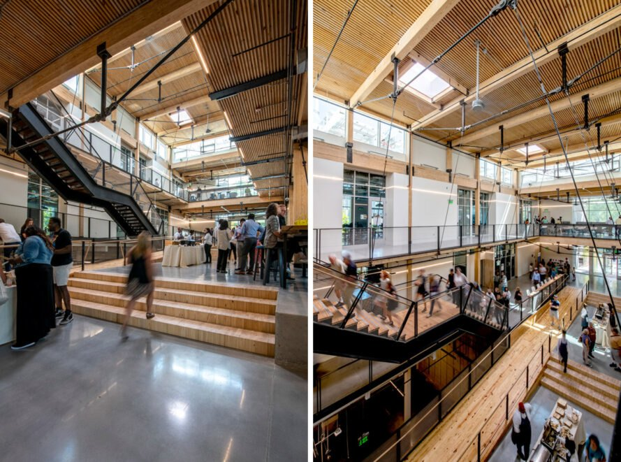 industrial interiors with light wood ceilings and concrete floors