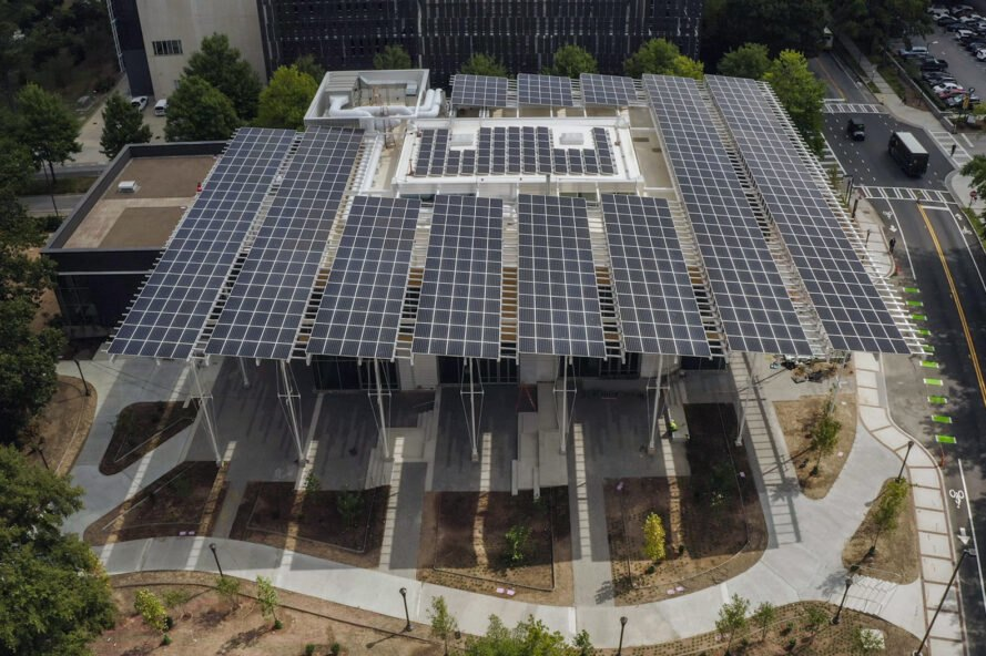 aerial view of solar panels on a university building