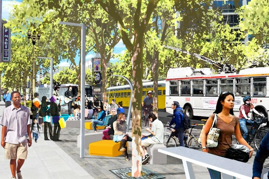 rendering of buses near a public square