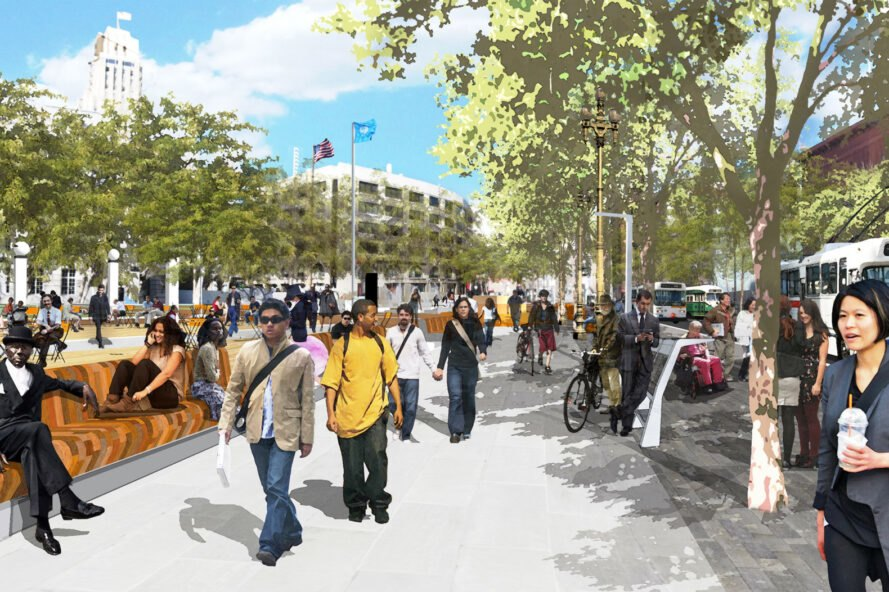 rendering of people walking in a car-free street
