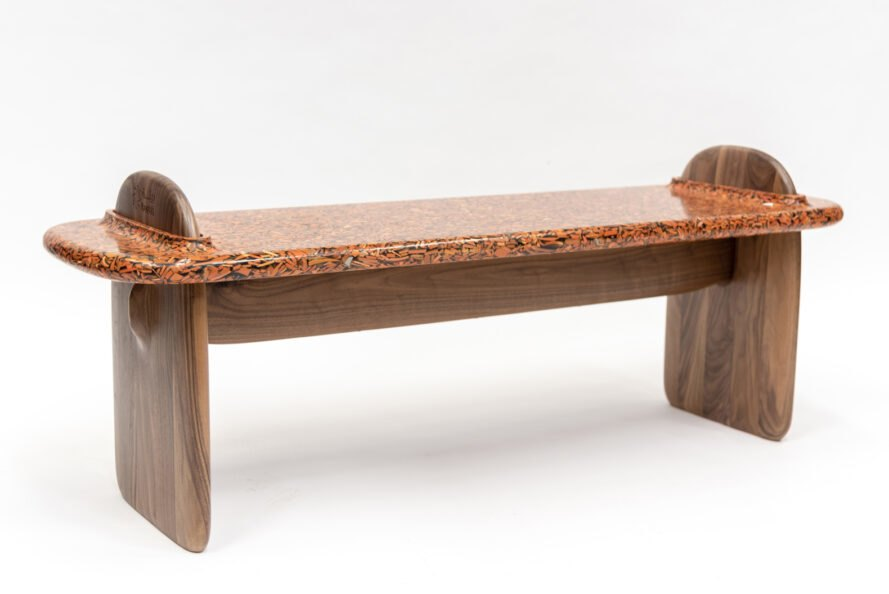 wood bench on white background