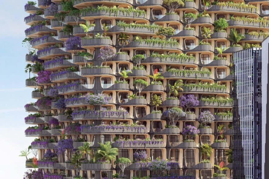 building with layers of vegetation