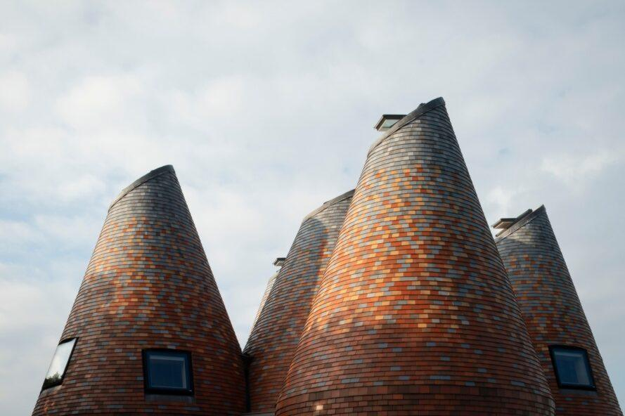 tops of four conical structures
