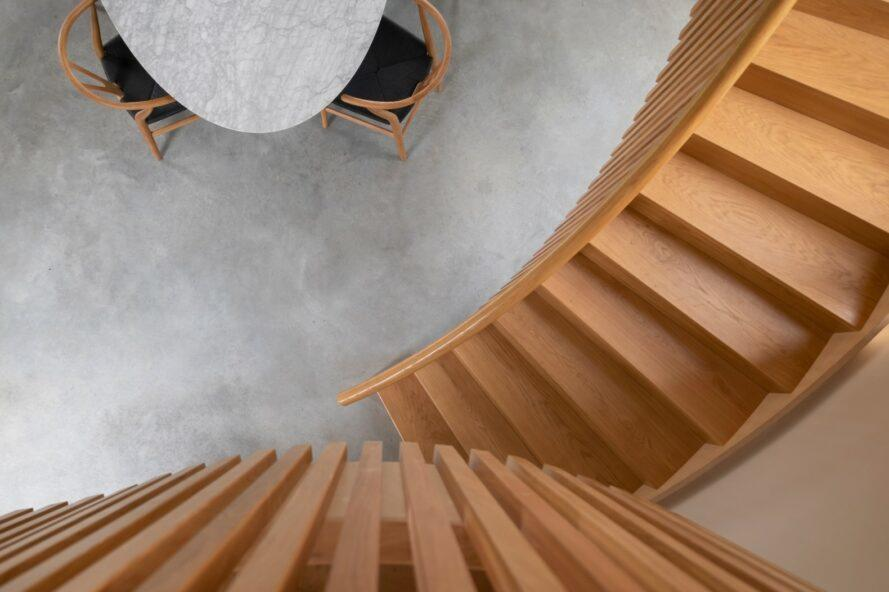 aerial view of wood spiral staircase