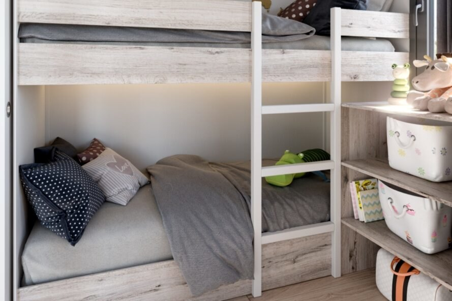 bunk beds with ladder reaching up to the top bunk