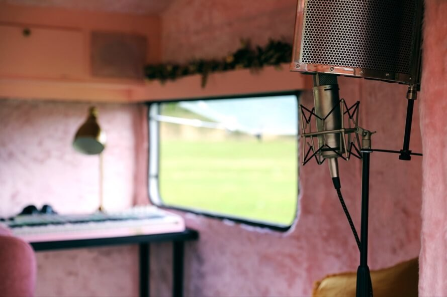 all-pink interior of a renovated camper