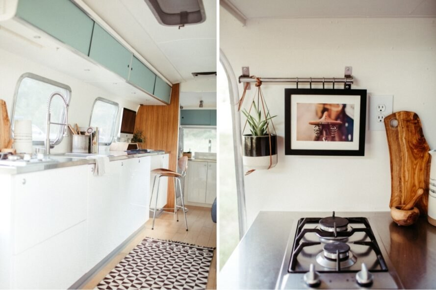 kitchen space inside an airstream
