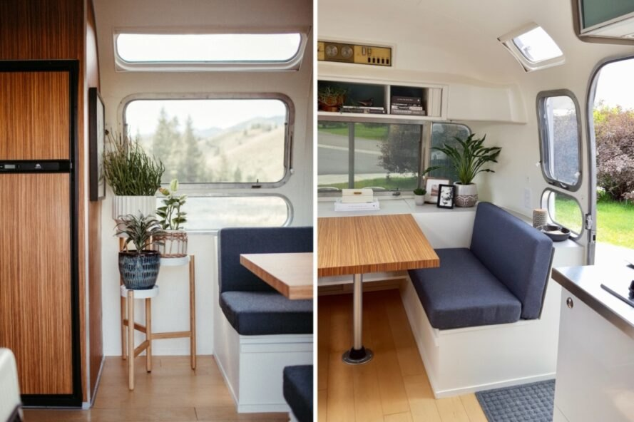 dinette seating inside an airstream trailer