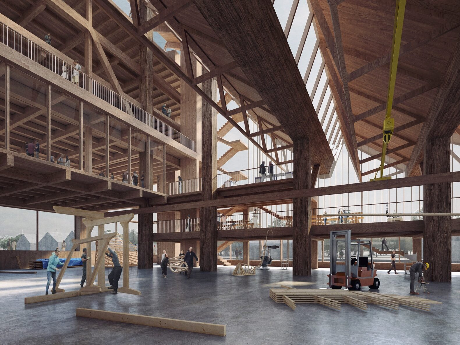 interior of a timber structure with cross beams
