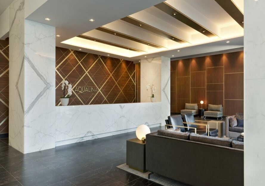 reception with brown and white walls