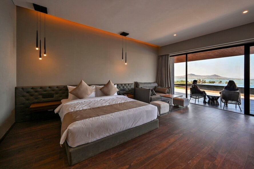 large bed in spacious hotel suite