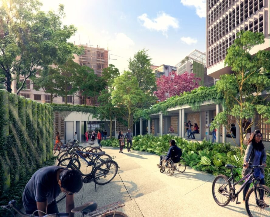 rendering of an outdoor courtyard area with lush greenery and people parking their bikes