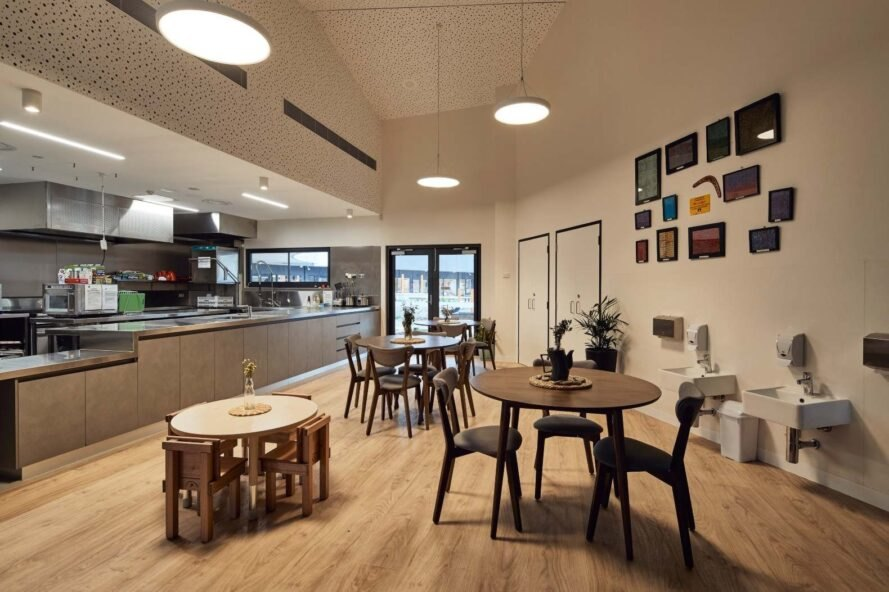 cafeteria space with dining tables