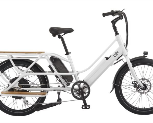 a white electric bike viewed from the side