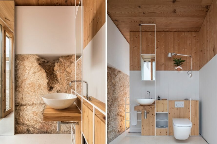 bathroom with natural rock walls