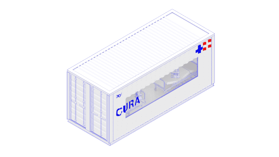 rendering of white shipping container with word CURA on the side