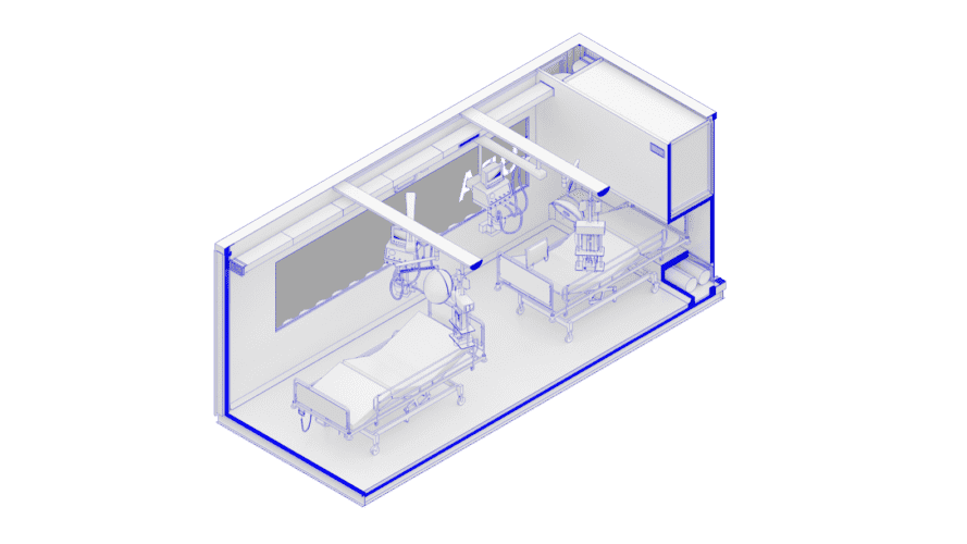 diagram of shipping container with two beds and medical equipment